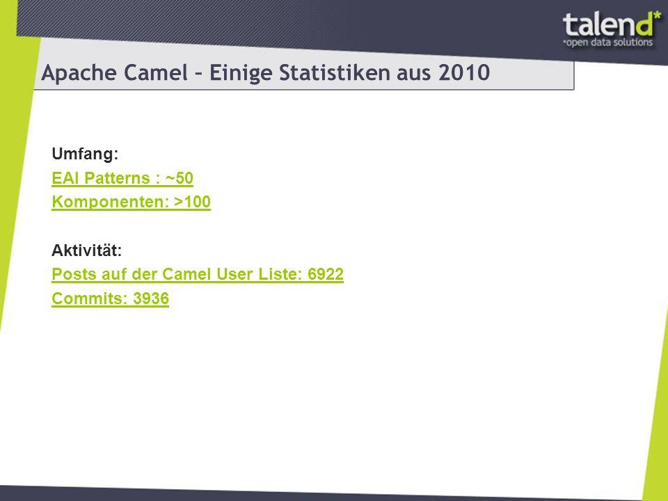 Talend Integration Factory powered by Camel Distribution von Camel + OSGi Container + Beispiele OSGi Container: Apache Karaf + Apache Felix + Apache Camel + Apache CXF Beispiele zeigen verschiedene Enterprise Szenarien Gut verwendbar als Template für eigene Anwendungen Alle Beispiele zeigen Standalone, WAR und OSGi deployment mit einem Source