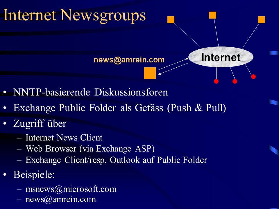 Internet Newsgroups NNTP-basierende Diskussionsforen Exchange Public Folder als Gefäss (Push & Pull) Zugriff über –Internet News Client –Web Browser (