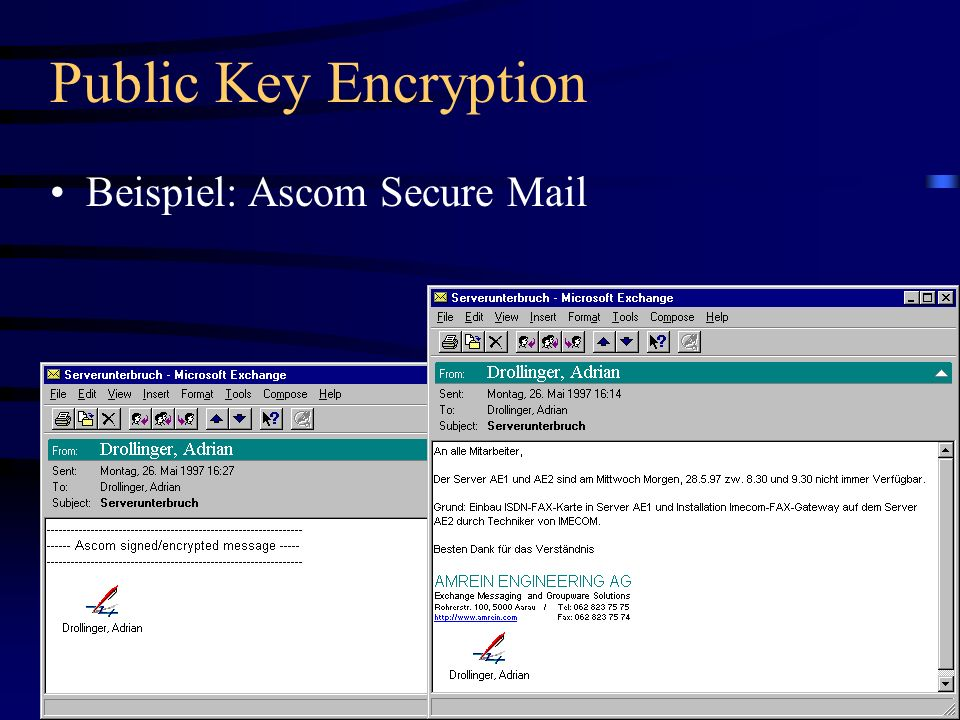 Public Key Encryption Beispiel: Ascom Secure Mail