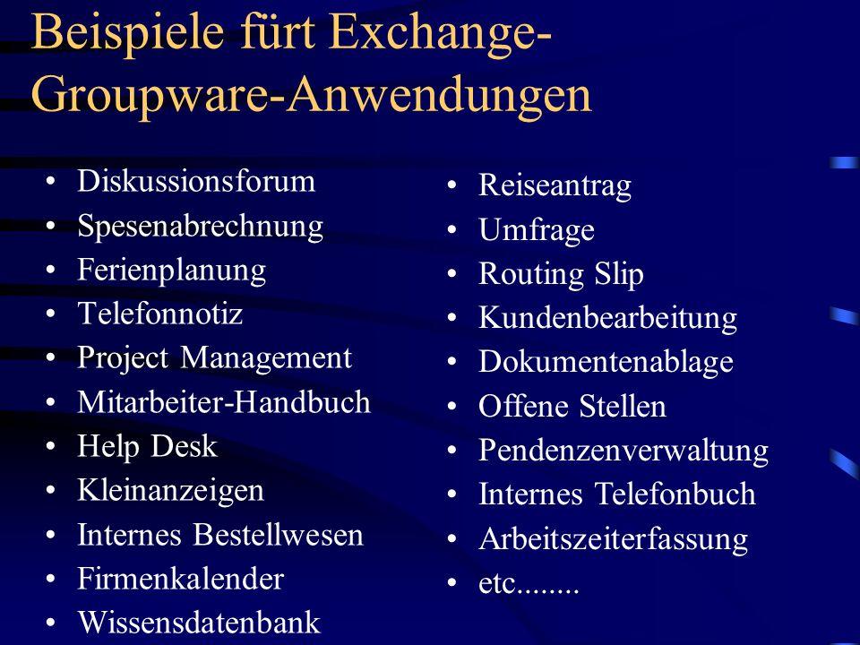 Beispiele fürt Exchange- Groupware-Anwendungen Diskussionsforum Spesenabrechnung Ferienplanung Telefonnotiz Project Management Mitarbeiter-Handbuch He