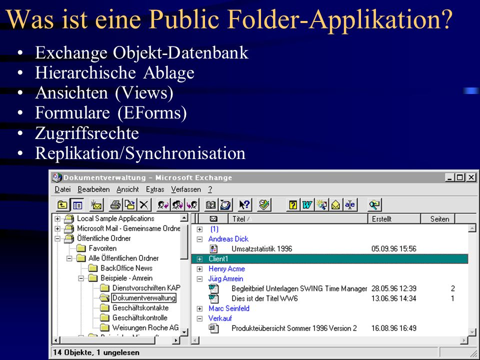 Was ist eine Public Folder-Applikation? Exchange Objekt-Datenbank Hierarchische Ablage Ansichten (Views) Formulare (EForms) Zugriffsrechte Replikation