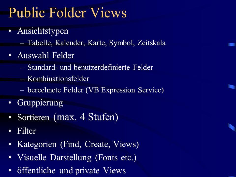 Public Folder Views Ansichtstypen –Tabelle, Kalender, Karte, Symbol, Zeitskala Auswahl Felder –Standard- und benutzerdefinierte Felder –Kombinationsfe