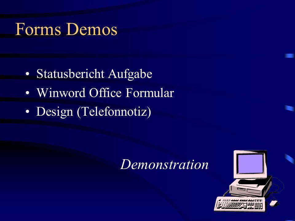 Forms Demos Statusbericht Aufgabe Winword Office Formular Design (Telefonnotiz) Demonstration