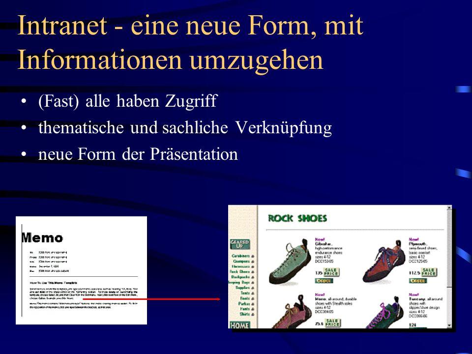 Intranet - eine neue Form, mit Informationen umzugehen (Fast) alle haben Zugriff thematische und sachliche Verknüpfung neue Form der Präsentation