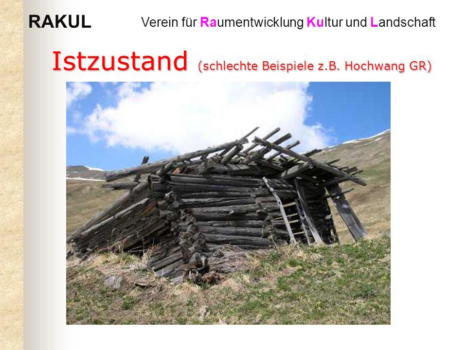 RAKUL Verein für Raumentwicklung Kultur und Landschaft Istzustand (schlechte Beispiele z.B. Hochwang GR)