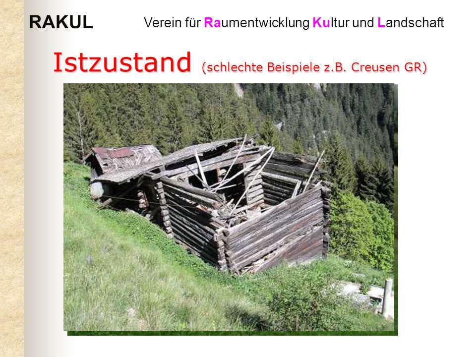 RAKUL Verein für Raumentwicklung Kultur und Landschaft Istzustand (schlechte Beispiele z.B. Creusen GR)
