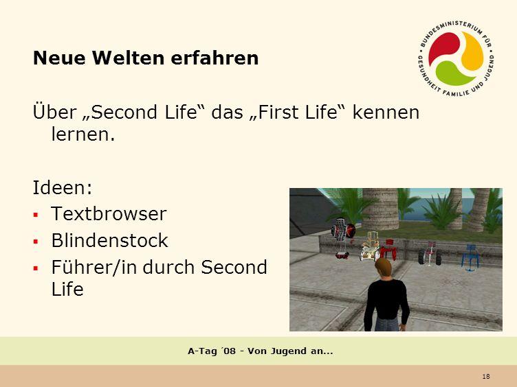 18 A-Tag ´08 - Von Jugend an...Neue Welten erfahren Über Second Life das First Life kennen lernen.