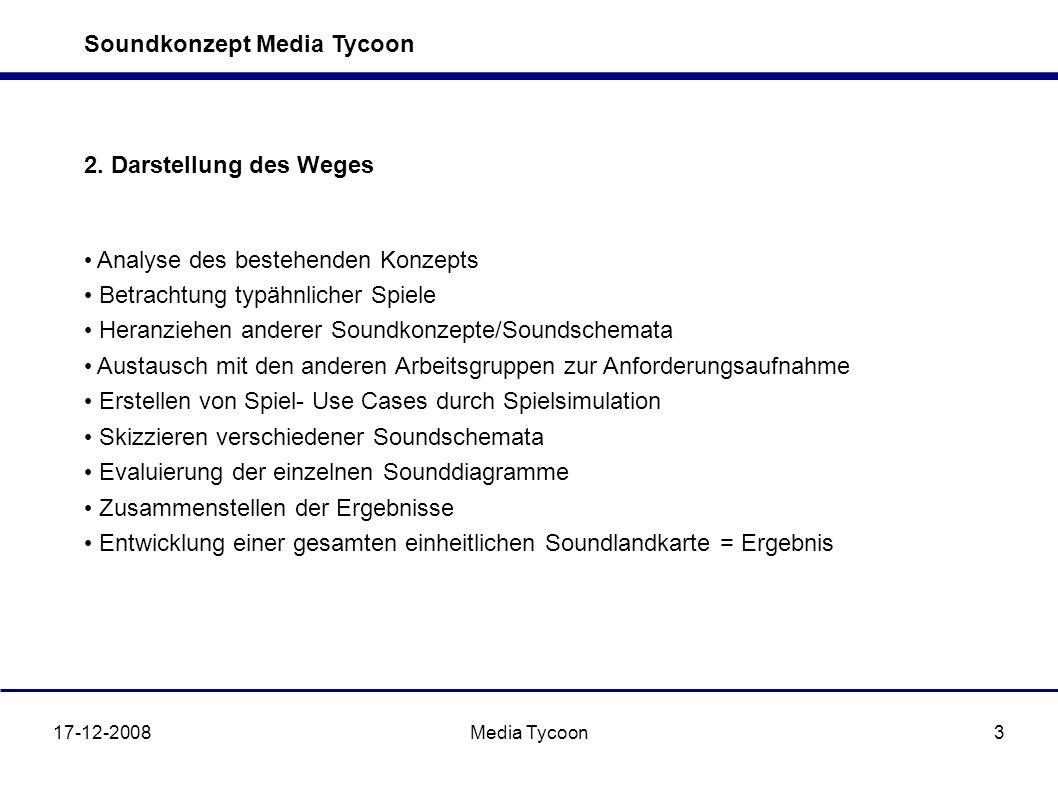 Soundkonzept Media Tycoon 17-12-2008Media Tycoon3 2. Darstellung des Weges Analyse des bestehenden Konzepts Betrachtung typähnlicher Spiele Heranziehe