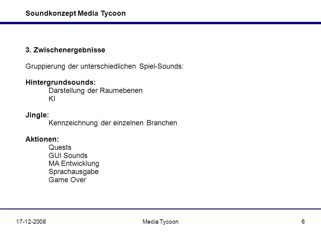 Soundkonzept Media Tycoon 17-12-2008Media Tycoon6 3. Zwischenergebnisse Gruppierung der unterschiedlichen Spiel-Sounds: Hintergrundsounds: Darstellung