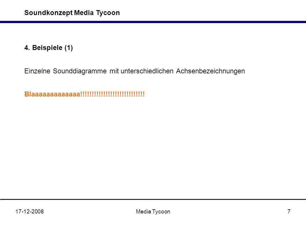Soundkonzept Media Tycoon 17-12-2008Media Tycoon7 4. Beispiele (1) Einzelne Sounddiagramme mit unterschiedlichen Achsenbezeichnungen Blaaaaaaaaaaaaa!!