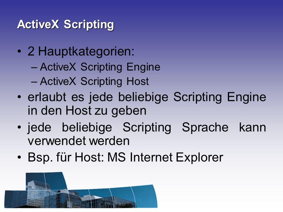 ActiveX Scripting 2 Hauptkategorien: –ActiveX Scripting Engine –ActiveX Scripting Host erlaubt es jede beliebige Scripting Engine in den Host zu geben