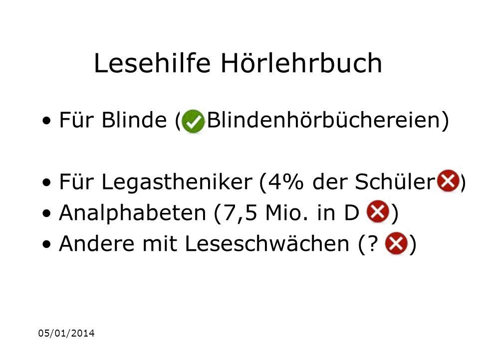 05/01/2014 Lesehilfe Hörlehrbuch Für Blinde ( Blindenhörbüchereien) Für Legastheniker (4% der Schüler ) Analphabeten (7,5 Mio.