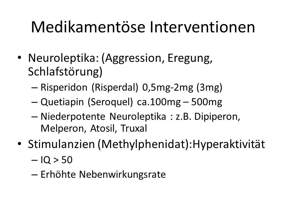 Medikamentöse Interventionen Neuroleptika: (Aggression, Eregung, Schlafstörung) – Risperidon (Risperdal) 0,5mg-2mg (3mg) – Quetiapin (Seroquel) ca.100mg – 500mg – Niederpotente Neuroleptika : z.B.