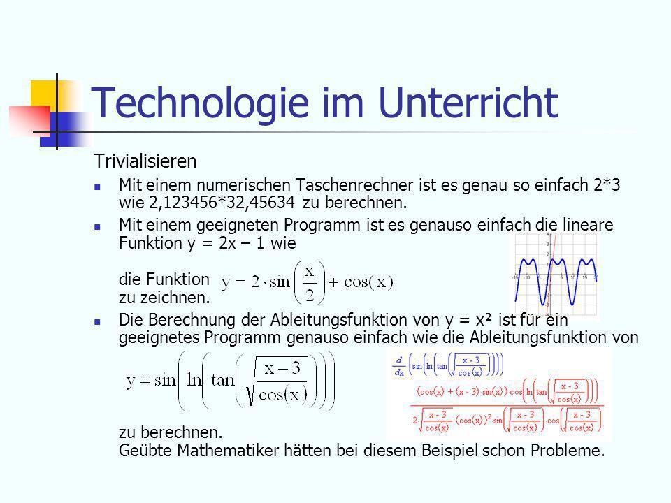 Technologie im Unterricht Die wichtigsten Punkte für den Einsatz von Technologie im Unterricht sind: Das Trivialisieren Das Experimentieren Das Visualisieren
