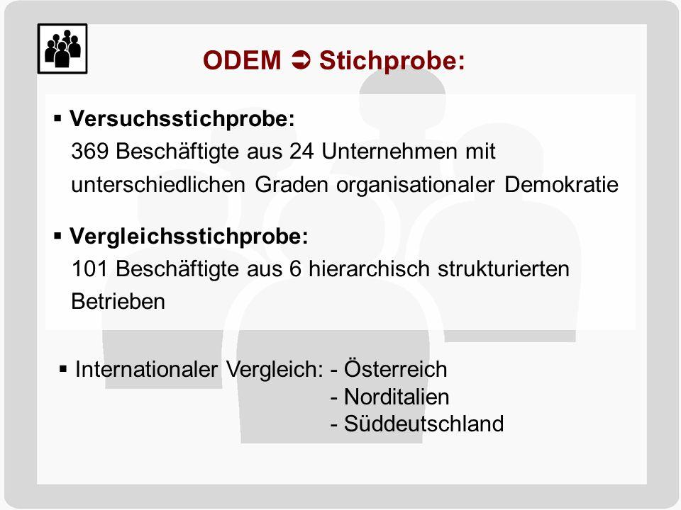 ODEM Stichprobe: Internationaler Vergleich:- Österreich - Norditalien - Süddeutschland Versuchsstichprobe: 369 Beschäftigte aus 24 Unternehmen mit unt