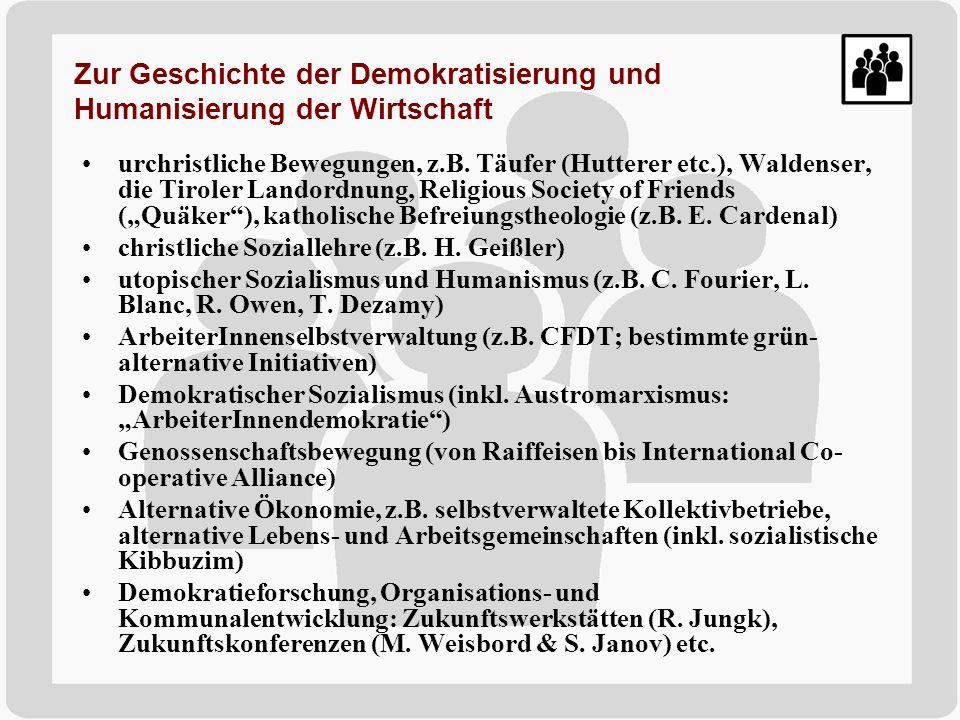 urchristliche Bewegungen, z.B. Täufer (Hutterer etc.), Waldenser, die Tiroler Landordnung, Religious Society of Friends (Quäker), katholische Befreiun