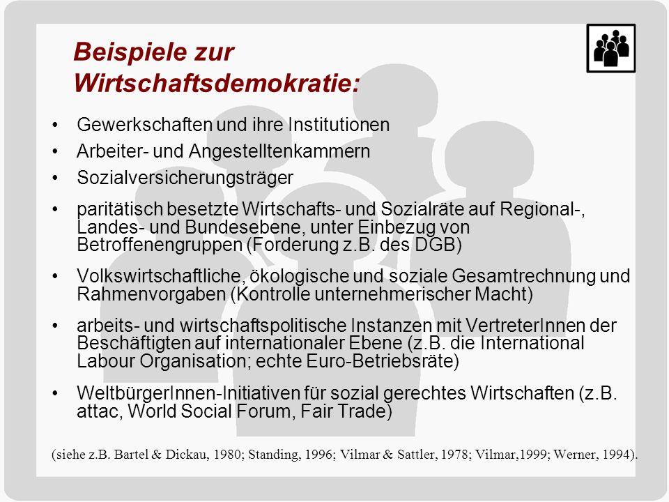 Beispiele zur Wirtschaftsdemokratie: Gewerkschaften und ihre Institutionen Arbeiter- und Angestelltenkammern Sozialversicherungsträger paritätisch bes