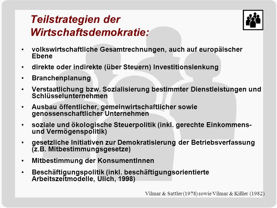 Teilstrategien der Wirtschaftsdemokratie: volkswirtschaftliche Gesamtrechnungen, auch auf europäischer Ebene direkte oder indirekte (über Steuern) Inv