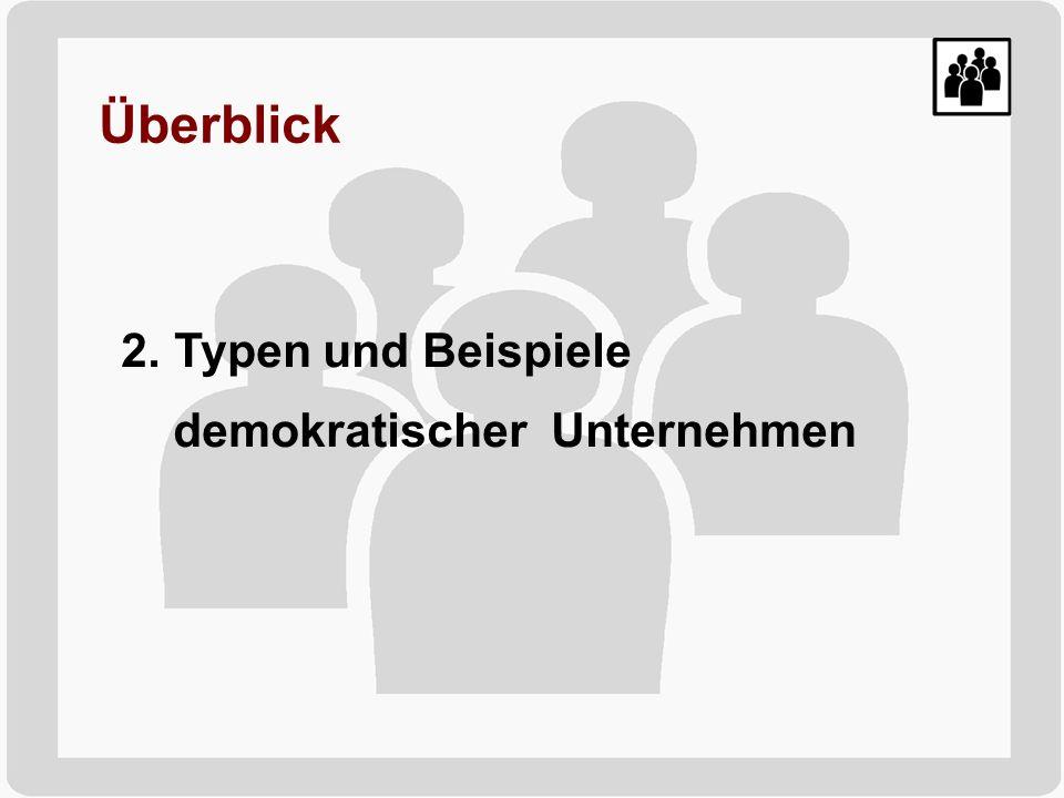 Überblick 2. Typen und Beispiele demokratischer Unternehmen