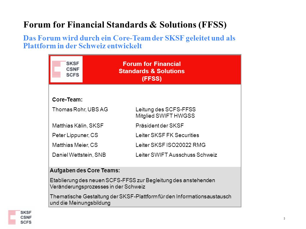 4 Forum for Financial Standards & Solutions (FFSS) ISO20022 RMG ISO20022 SEG s ISO/TC68/ WG4 (ISO2022) A-Lisaisons B-Lisaisons SCSF P-Member SWIFTNet Solution BVG SWIFT Steering Committees SWIFT Securities Steering Committee SWIFT Standards Committee SWIFT Banking & Ops Committee SWIFT Ausschuss Schweiz SWIFT Forums (WG) SWIFT Standards Advisory Forum WG SWIFT Sec.