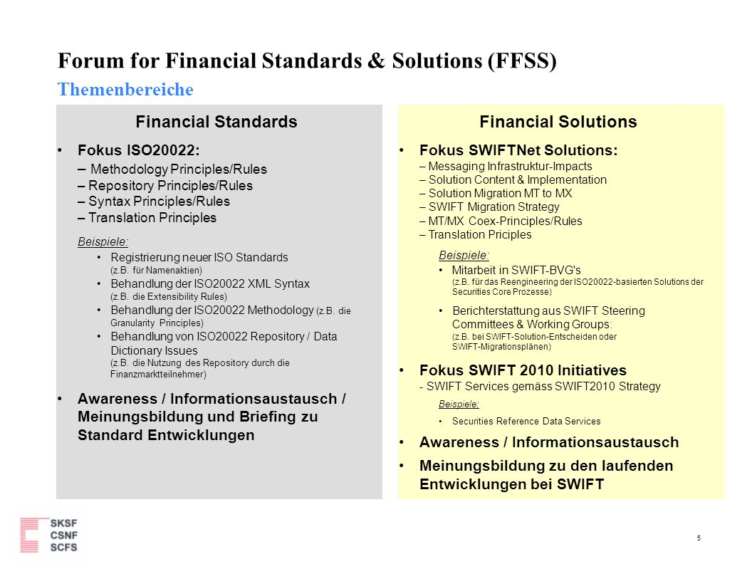 5 Forum for Financial Standards & Solutions (FFSS) Themenbereiche Financial Standards Fokus ISO20022: – Methodology Principles/Rules – Repository Prin