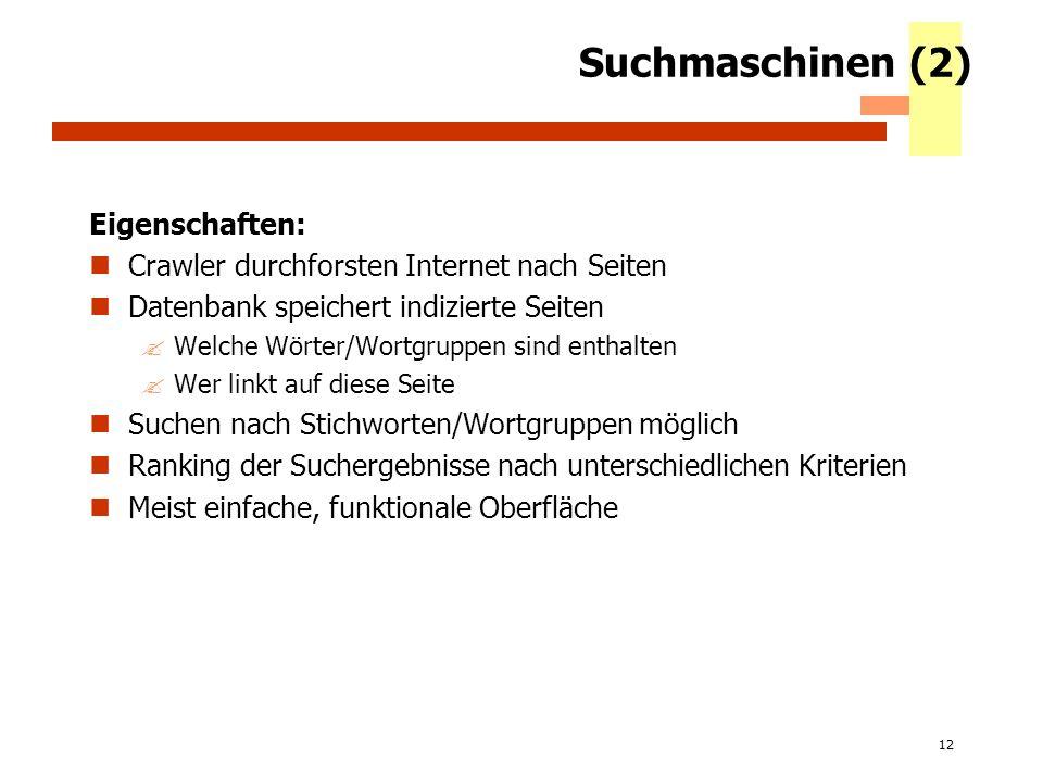 12 Suchmaschinen (2) Eigenschaften: Crawler durchforsten Internet nach Seiten Datenbank speichert indizierte Seiten ?Welche Wörter/Wortgruppen sind en