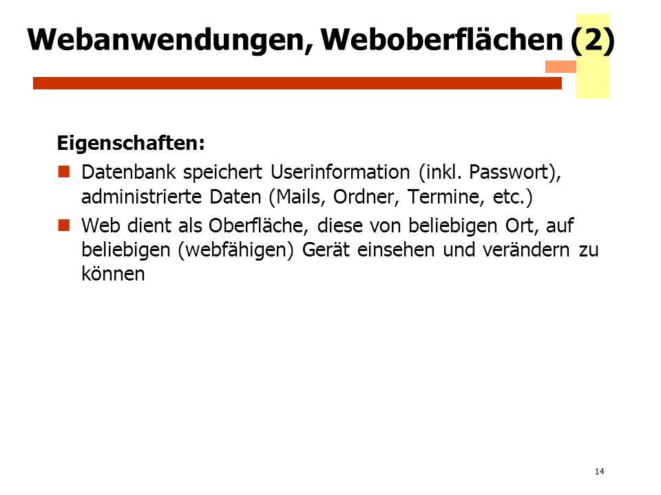 14 Webanwendungen, Weboberflächen (2) Eigenschaften: Datenbank speichert Userinformation (inkl. Passwort), administrierte Daten (Mails, Ordner, Termin