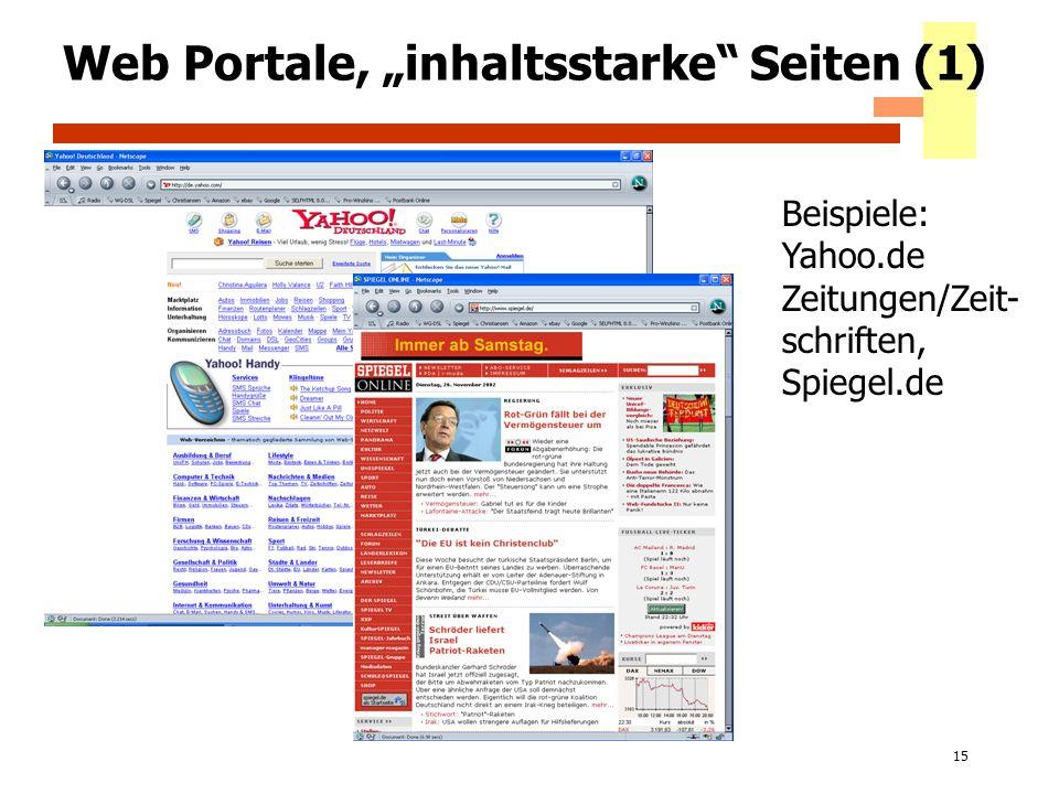 15 Web Portale, inhaltsstarke Seiten (1) Beispiele: Yahoo.de Zeitungen/Zeit- schriften, Spiegel.de