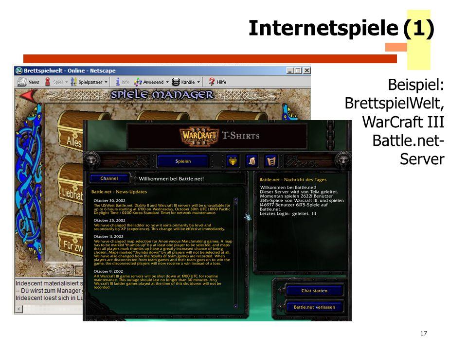 17 Internetspiele (1) Beispiel: BrettspielWelt, WarCraft III Battle.net- Server