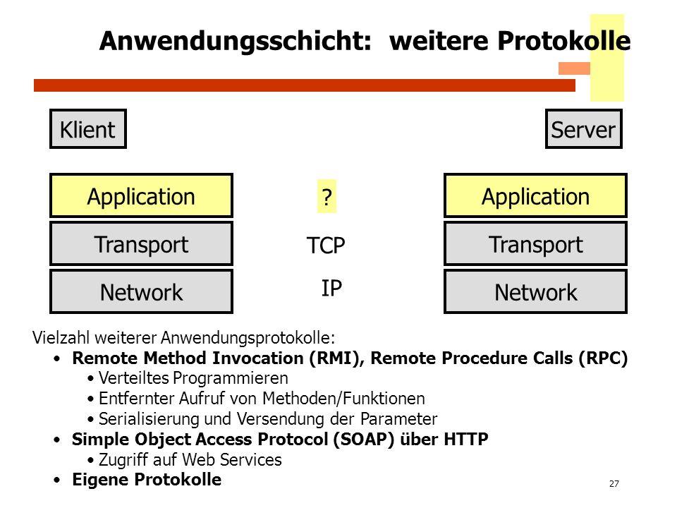 27 Anwendungsschicht: weitere Protokolle KlientServer Application Transport Network Application Transport Network IP ? Vielzahl weiterer Anwendungspro