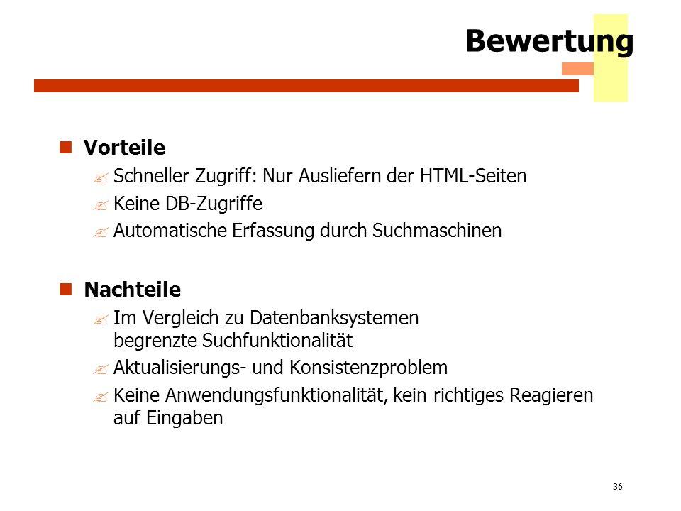 36 Bewertung Vorteile ?Schneller Zugriff: Nur Ausliefern der HTML-Seiten ?Keine DB-Zugriffe ?Automatische Erfassung durch Suchmaschinen Nachteile ?Im