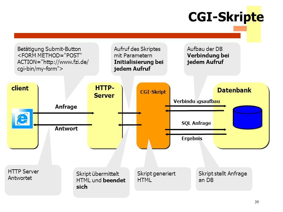 39 CGI-Skripte client HTTP- Server Datenbank CGI-Skript Aufruf des Skriptes mit Parametern Initialisierung bei jedem Aufruf Skript übermittelt HTML un