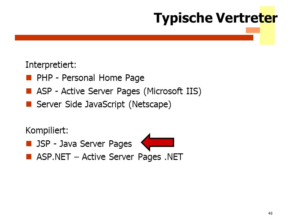 48 Typische Vertreter Interpretiert: PHP - Personal Home Page ASP - Active Server Pages (Microsoft IIS) Server Side JavaScript (Netscape) Kompiliert: