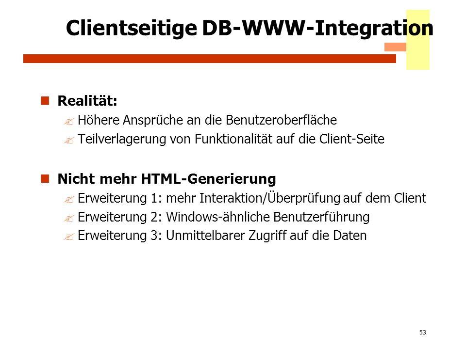 53 Clientseitige DB-WWW-Integration Realität: ?Höhere Ansprüche an die Benutzeroberfläche ?Teilverlagerung von Funktionalität auf die Client-Seite Nic