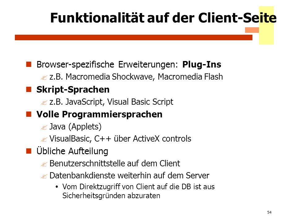 54 Funktionalität auf der Client-Seite Browser-spezifische Erweiterungen: Plug-Ins ?z.B. Macromedia Shockwave, Macromedia Flash Skript-Sprachen ?z.B.
