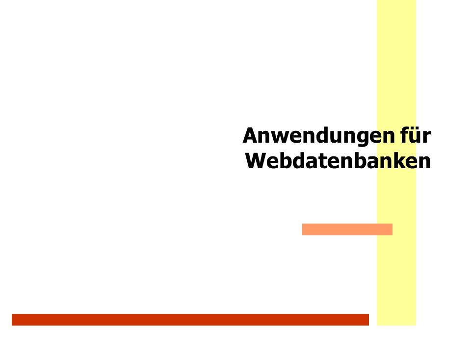 Anwendungen für Webdatenbanken