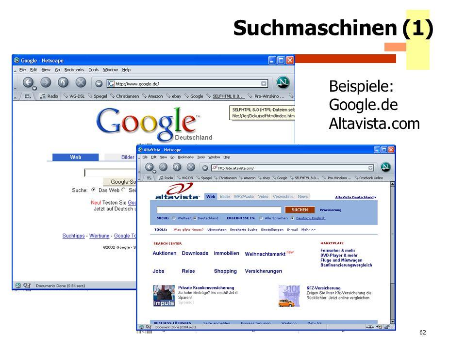 62 Suchmaschinen (1) Beispiele: Google.de Altavista.com