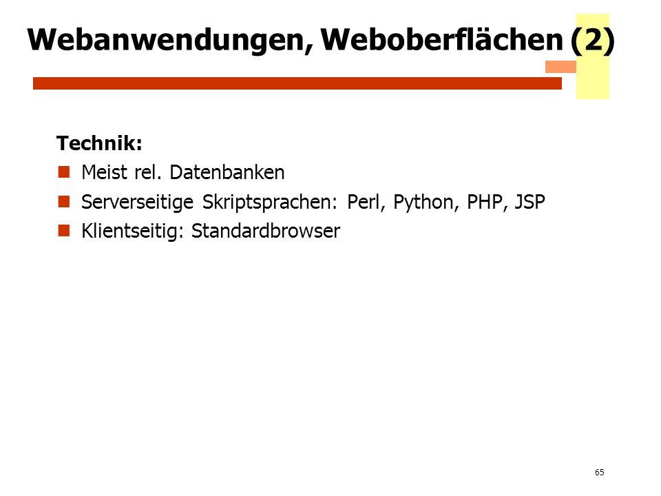 65 Webanwendungen, Weboberflächen (2) Technik: Meist rel. Datenbanken Serverseitige Skriptsprachen: Perl, Python, PHP, JSP Klientseitig: Standardbrows