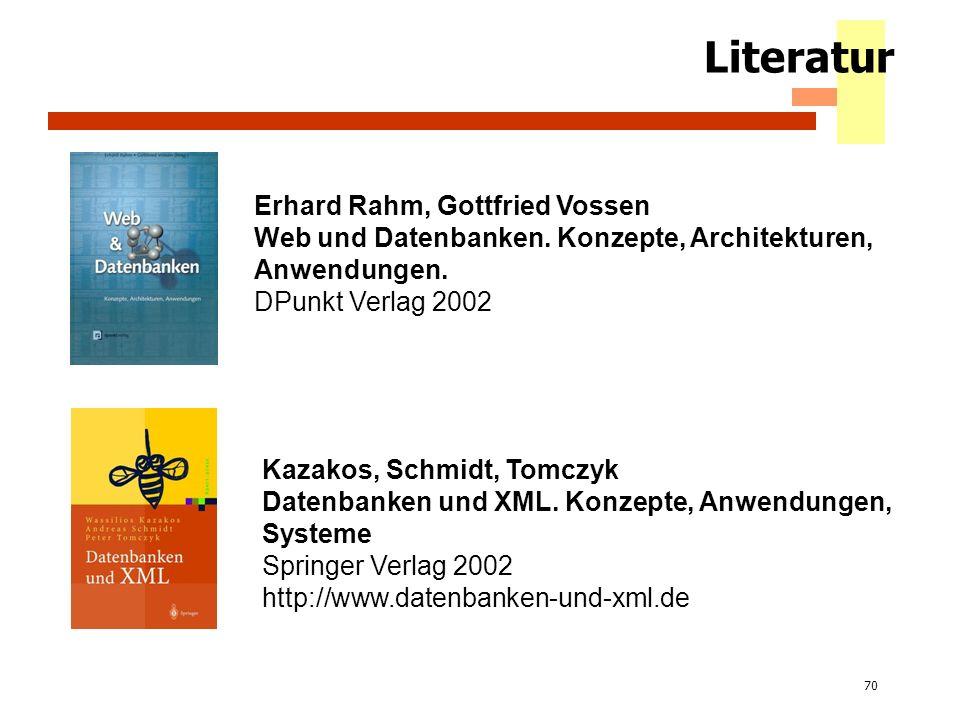 70 Literatur Erhard Rahm, Gottfried Vossen Web und Datenbanken. Konzepte, Architekturen, Anwendungen. DPunkt Verlag 2002 Kazakos, Schmidt, Tomczyk Dat