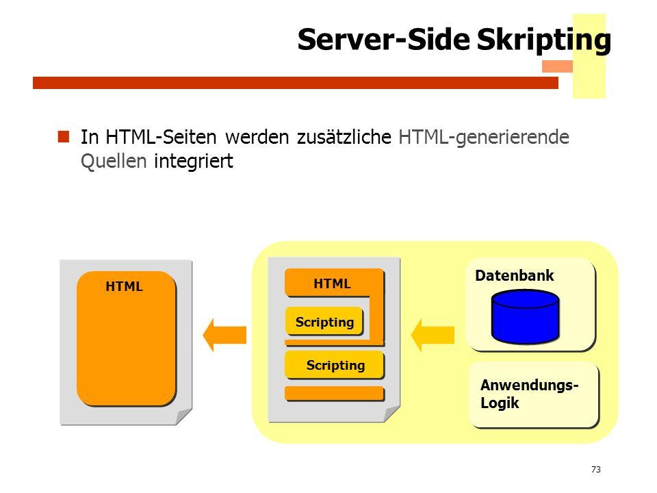 73 Server-Side Skripting In HTML-Seiten werden zusätzliche HTML-generierende Quellen integriert Datenbank Scripting HTML Scripting HTML Anwendungs- Lo