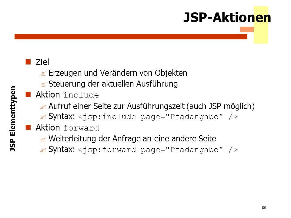 80 JSP-Aktionen Ziel ?Erzeugen und Verändern von Objekten ?Steuerung der aktuellen Ausführung Aktion include ?Aufruf einer Seite zur Ausführungszeit (