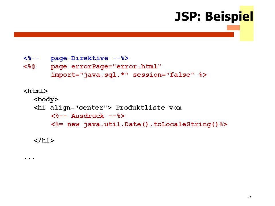 82 JSP: Beispiel <%@ page errorPage=