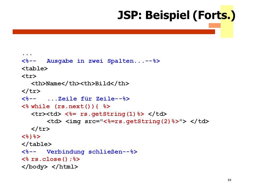 84 JSP: Beispiel (Forts.)... Name Bild