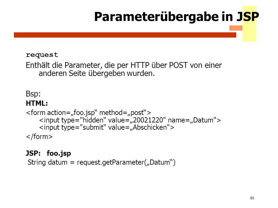 85 Parameterübergabe in JSP request Enthält die Parameter, die per HTTP über POST von einer anderen Seite übergeben wurden. Bsp: HTML: JSP: foo.jsp St