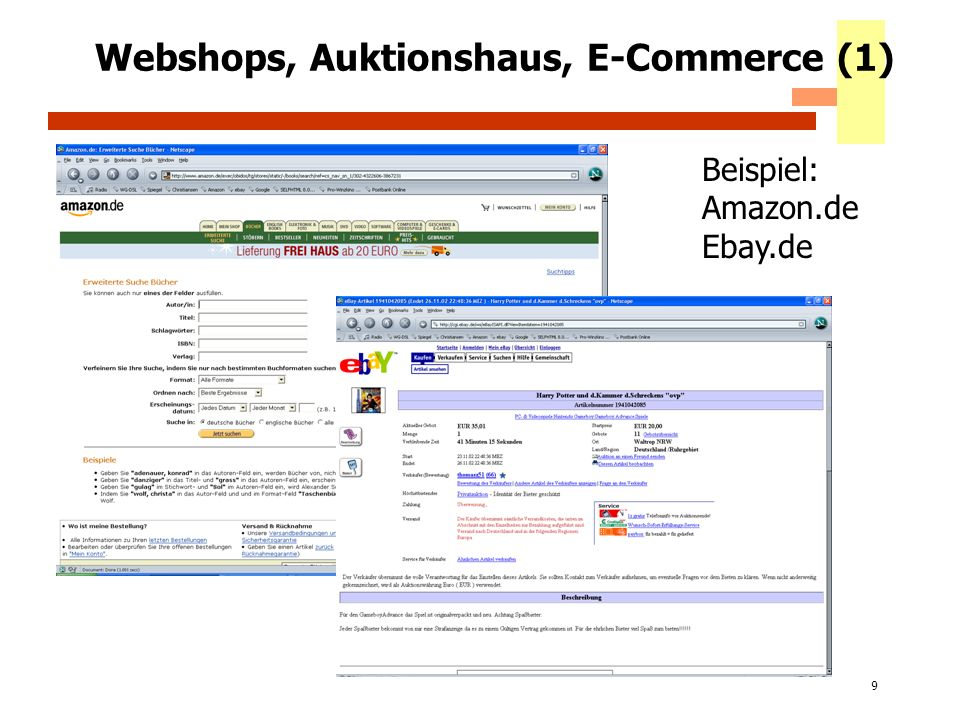 60 Webshops, Auktionshaus, E-Commerce (1) Beispiel: Amazon.de Ebay.de