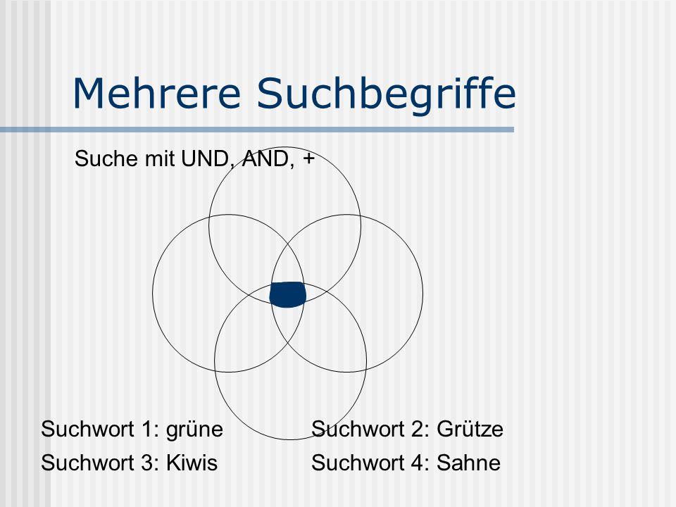Mehrere Suchbegriffe Suche mit UND, AND, + Suchwort 1: grüneSuchwort 2: Grütze Suchwort 3: KiwisSuchwort 4: Sahne