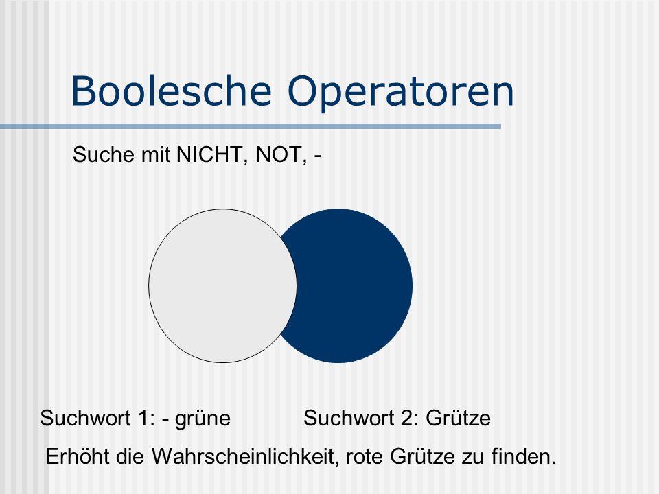 Boolesche Operatoren Suche mit NICHT, NOT, - Suchwort 1: - grüneSuchwort 2: Grütze Erhöht die Wahrscheinlichkeit, rote Grütze zu finden.