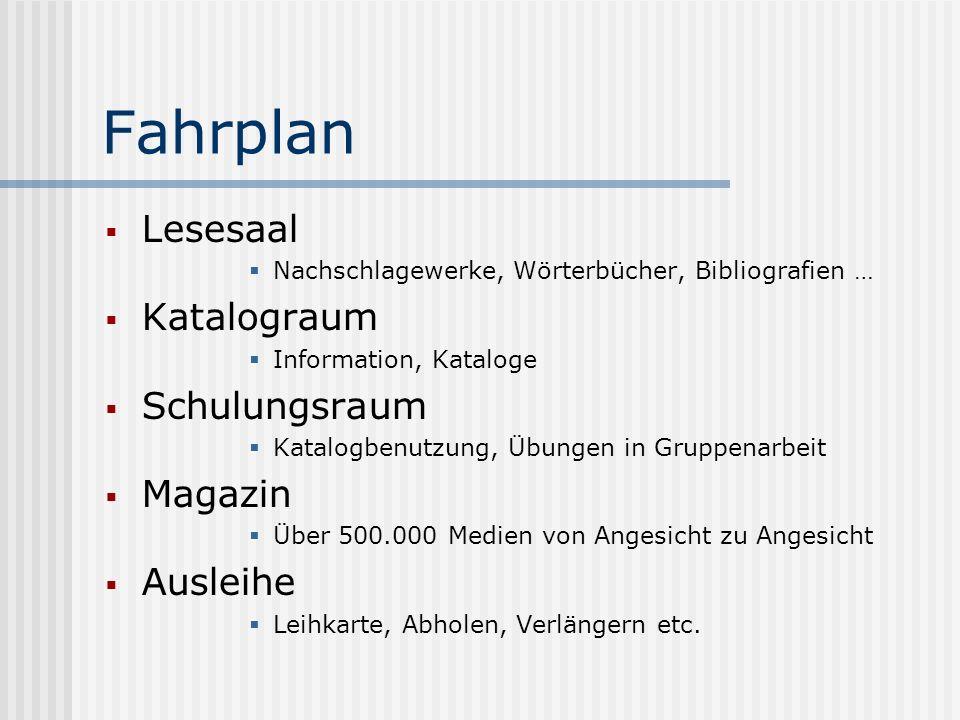 Fahrplan Lesesaal Nachschlagewerke, Wörterbücher, Bibliografien … Katalograum Information, Kataloge Schulungsraum Katalogbenutzung, Übungen in Gruppen