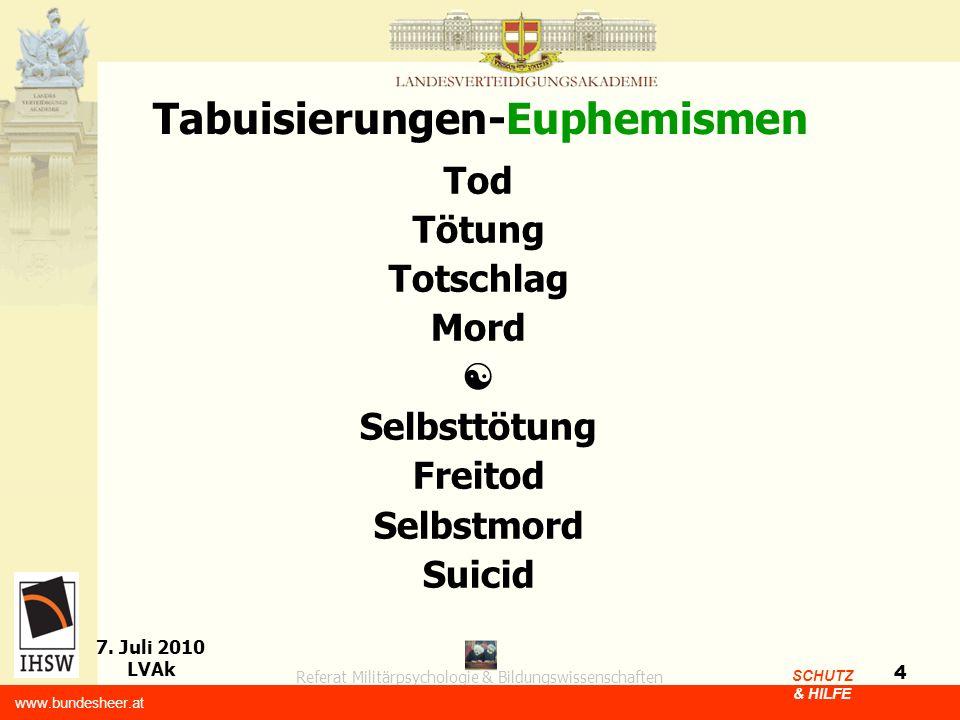 Referat Militärpsychologie & Bildungswissenschaften 7. Juli 2010 LVAk www.bundesheer.at SCHUTZ & HILFE 4 Tabuisierungen-Euphemismen Tod Tötung Totschl