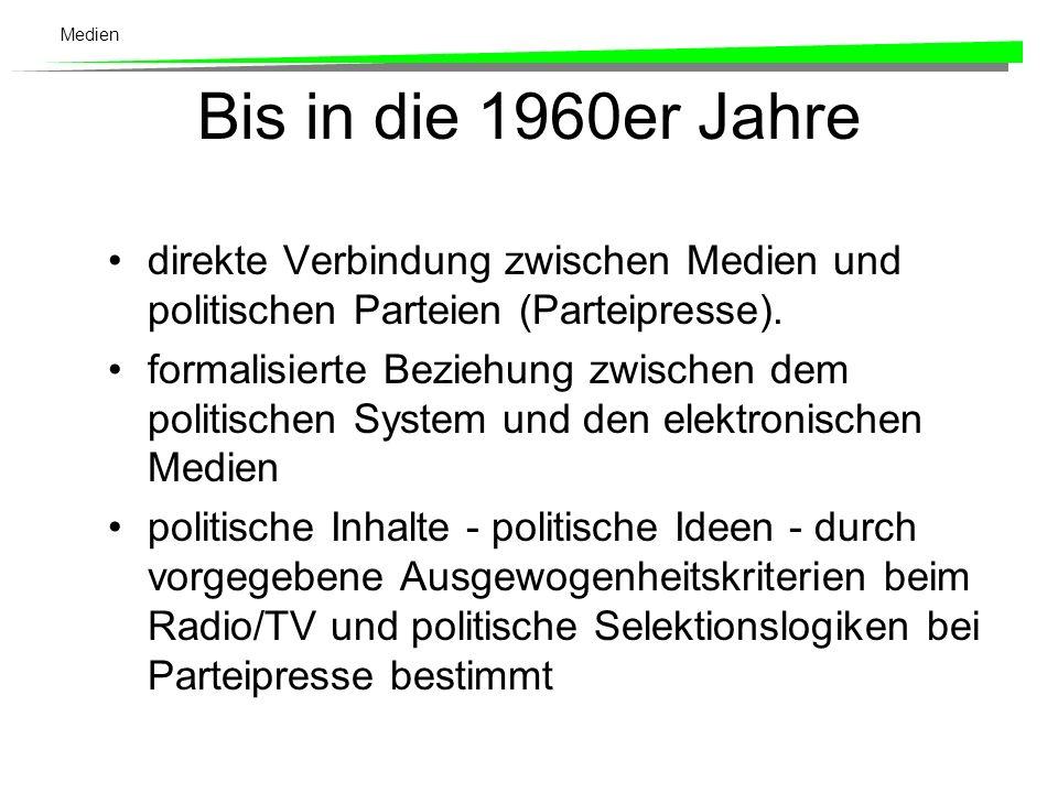 Medien Bis in die 1960er Jahre direkte Verbindung zwischen Medien und politischen Parteien (Parteipresse).